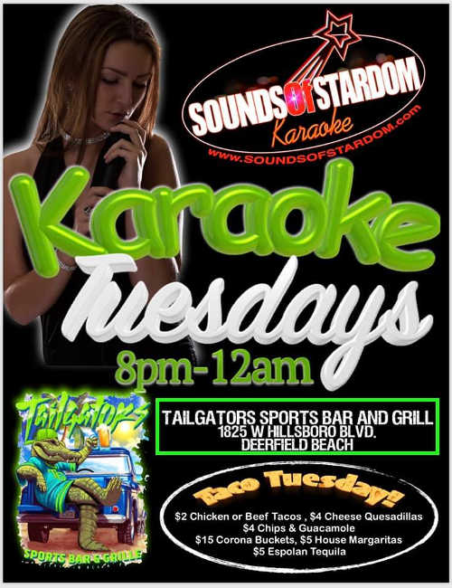 Taco Tuesday Karaoke at Tailgators Sports Bar & Grille Deerfield Beach