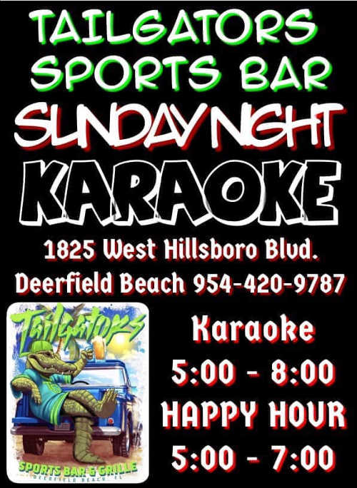 Karaoke Sunday at Tailgators Sports Bar in Deerfield Beach