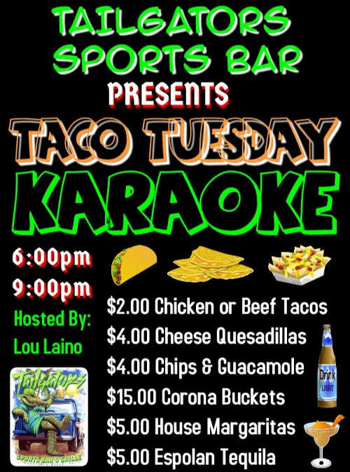 Karaoke Sundays and Tuesdays at Tailgators Sports Bar in Deerfield Beach