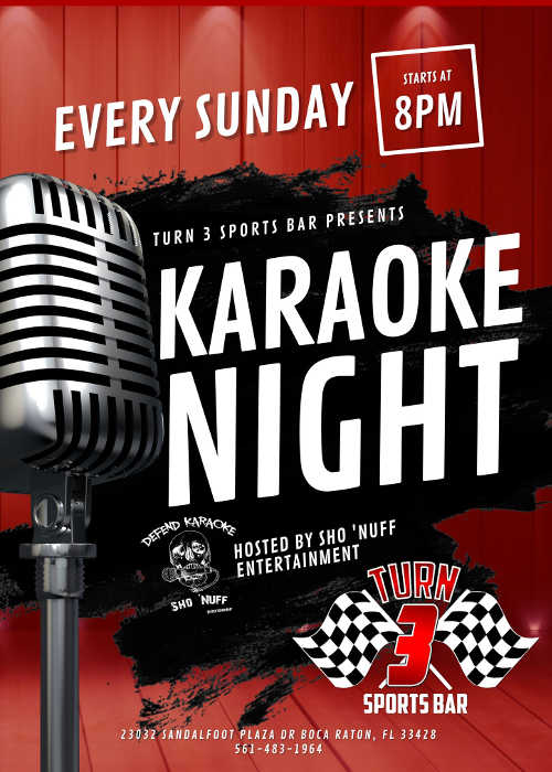 Karaoke Sundays at Turn 3 Sports Bar in Boca Raton