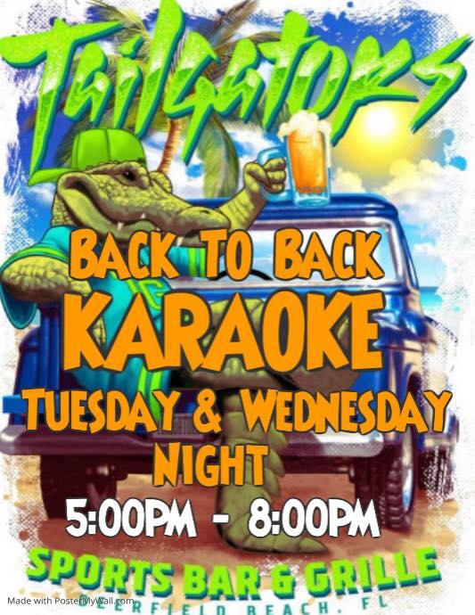 Karaoke Sundays and Tuesdays at Tailgators Sports Bar in Deerfield Beach